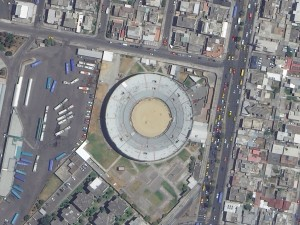 This month we feature three awe-inspiring 30-cm color WorldView-3 images of Quito, Ecuador. In the first image, check out the detail you can see on the larger automobiles to the west of the circular stadium. In the second, that airplane is just too cool! And the in the final image, what is going on with the regular patterns on the central basketball (perhaps a different sport?) court?! These images have been photo enhanced by Apollo Mapping. (Images Courtesy: DigitalGlobe)