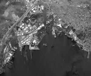 Here is the first image ever beamed back to earth by SPOT 5 just 3 days after its launch into space on May 7, 2002. This is a 2.5-meter panchromatic image of Eleusis Harbor, Greece. © CNES 2015, Distribution Airbus Defense and Space / Spot Image S.A., France, all rights reserved.
